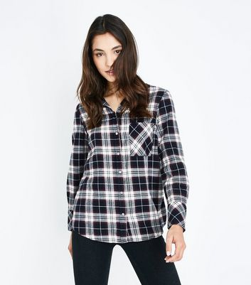 Navy Check Single Pocket Shirt