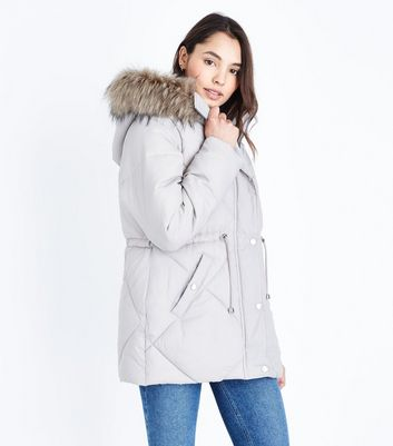 Pale Grey Faux Fur Trim Quilted Puffer Jacket