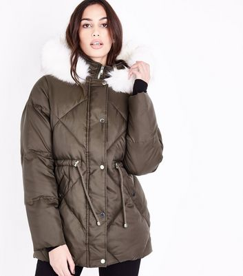 Khaki Faux Fur Trim Quilted Puffer Jacket