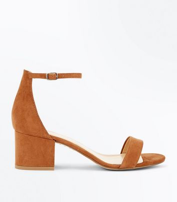 Tan Suedette Low Block Heel Sandals