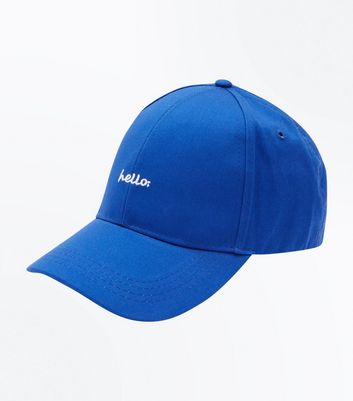 Blue Hello Embroidered Cap