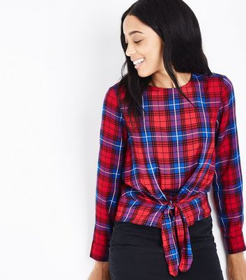 Red Check Tie Front Top