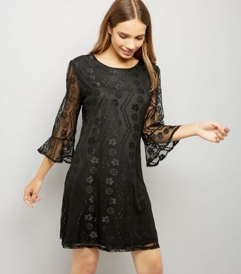 Mela Black Bell Mesh Sleeve Dress