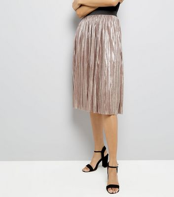 Mela Pink Pleated Midi Skirt
