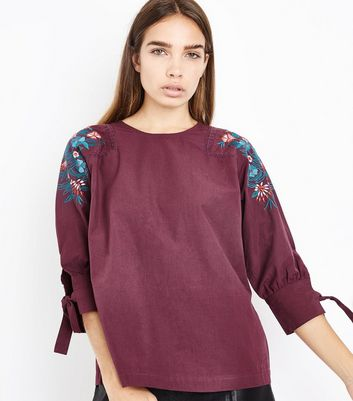 Burgundy Floral Embroidered Tie Sleeve Top