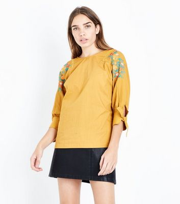 Yellow Floral Embroidered Sleeve Top