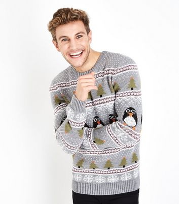 Pale Grey Penguin Christmas Jumper