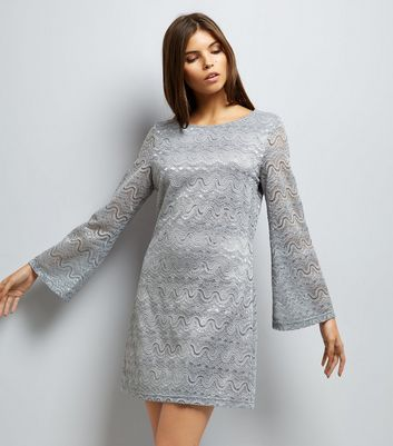 ... Mela Grey Lace Flared Sleeve Dress
