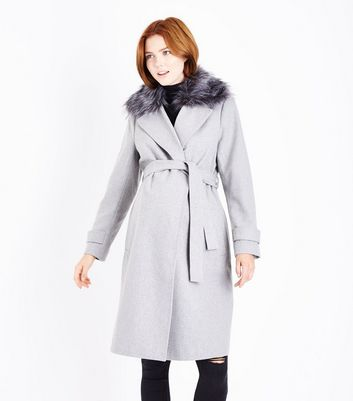 Maternity Pale Grey Faux Fur Collar Belted Coat