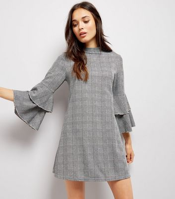 Grey Check Bell Sleeve Dress