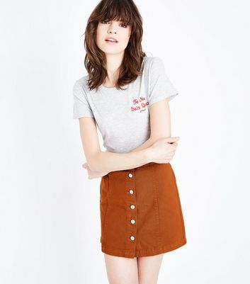 Rust Denim Button Front A-Line Skirt
