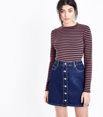 Blue Rinse Wash Denim Button Front A-Line Skirt