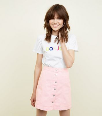 Pink Denim Button Front A-Line Skirt