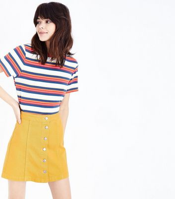 Mustard Denim Button Front A-Line Skirt