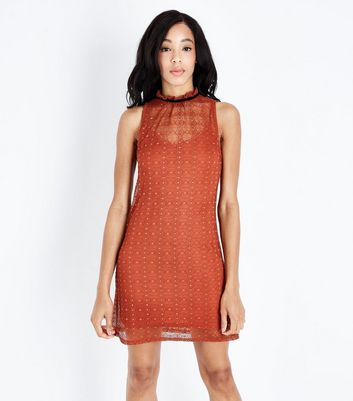 Rust Circle Lace High Neck Swing Dress
