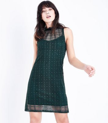 Dark Green Lace High Neck Swing Dress