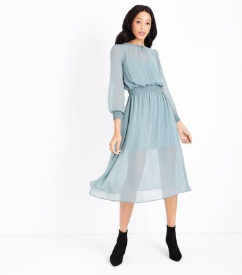 Pale Blue Chiffon Shirred Waist Midi Dress
