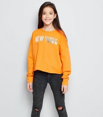 Teens Orange New York Metallic Slogan Sweater