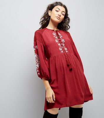 Burgundy Embroidered Tassel Front Smock Dress