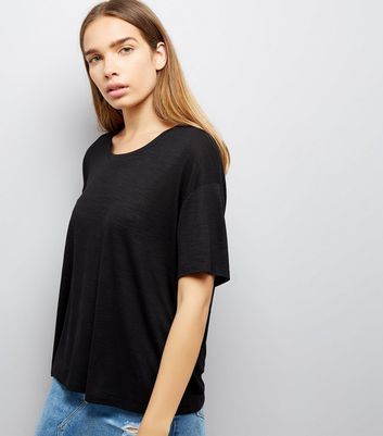 Black Textured Boxy T-Shirt