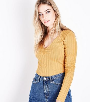 Mustard Yellow Ribbed V Neck Top