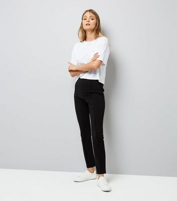 Black Pintuck Front Stretch Slim Leg Trousers