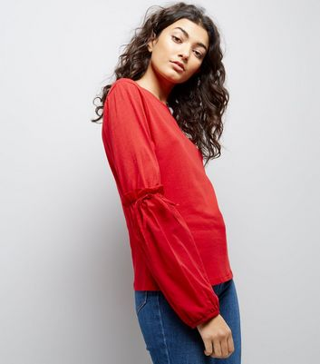 Red Tie Puff Sleeve Top