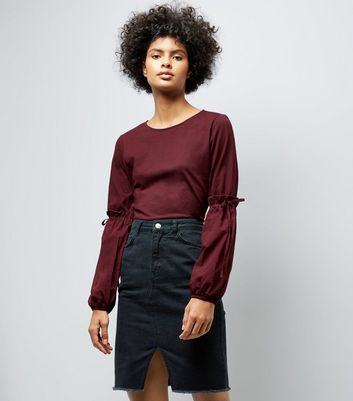 Burgundy Tie Puff Sleeve Top