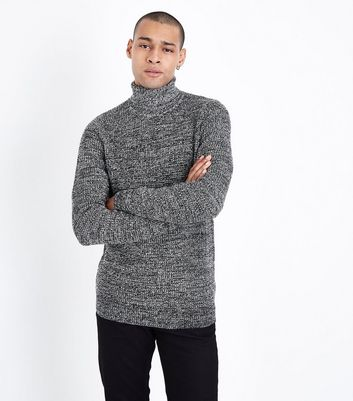Black Marl Roll Neck Top