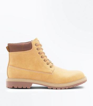 Tan Lace Up Leather Look Worker Boots