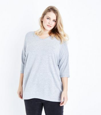 Curves Grey V Neck Fine Knit Top