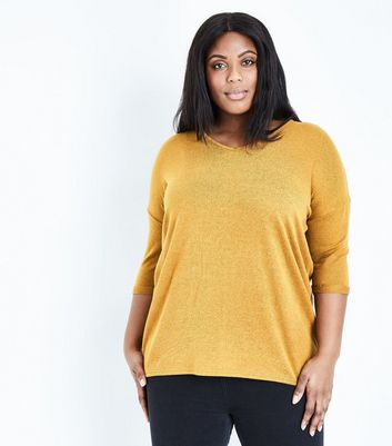 Mustard Panelled Rib Jumper; Curves Mustard V Neck Fine Knit Top