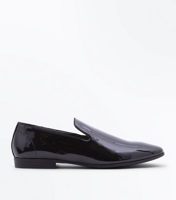 Black Patent Leather Look Loafers