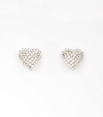 Silver Stone Heart Stud Earrings