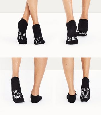 4 Pack Black Slogan Trainer Socks