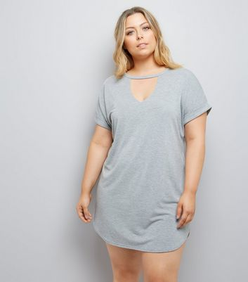Curves Grey Choker Neck T-Shirt Dress