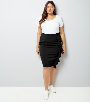 Curves Black Frill Trim Pencil Skirt