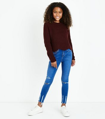 Teens Bright Blue Ripped Hem Skinny Jeans