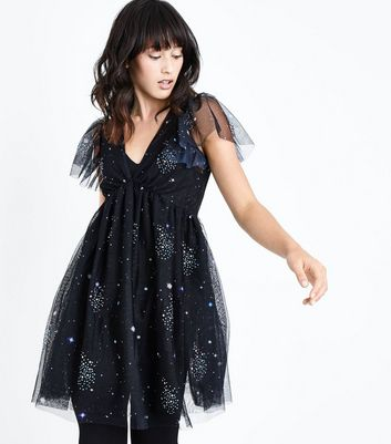 Black Premium Galaxy Embellished Mesh Dress