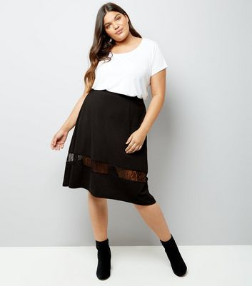 Curves Black Lace Insert Skater Skirt