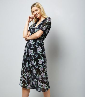 Black Floral Leaf Print Button Front Midi Dress