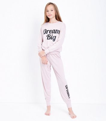 Teens Pink Dream Big Slogan Pyjama Set