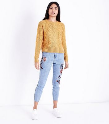 Petite Pale Blue Floral Embroidered Cropped Skinny Jeans