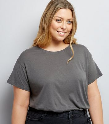 Curves Dark Grey Oversized T-Shirt