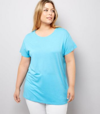 Curves Turqoise Oversized T-Shirt