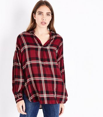 Red Check Balloon Sleeve Shirt