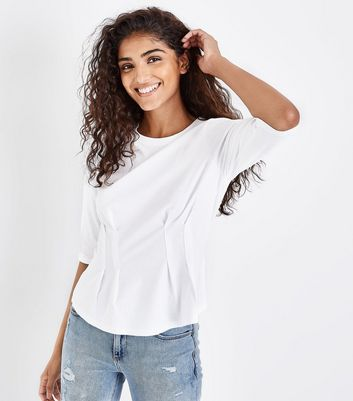 White Pleated Waist T-Shirt