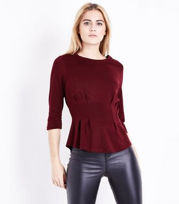 Burgundy Pleated Waist Half Sleeve T-Shirt