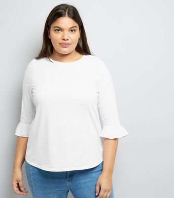 Curves White Bell Sleeve Top