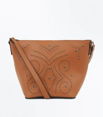 Tan Western Stud Bucket Bag